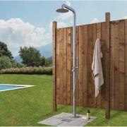 Freistehende Gartendusche mit Handdusche und Regenduschkopf gebürsteter Stahl - Seville