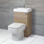 Eckige Toilette mit Spülkasten und integriertem Waschbecken Eiche