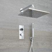 Digitale Dusche für zwei Funktionen, inkl. quadratischem Duschkopf zur Wandmontage & Brause - Narus