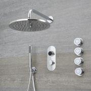 Digitale Dusche für drei Funktionen, inkl. rundem Duschkopf zur Wandmontage und Körperdüsen - Narus