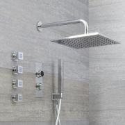 Three Outlet Digital Thermostatic shower with square wall mounted shower head & body jets