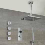 Digitale Dusche für drei Funktionen, inkl. quadratischem 400mm Duschkopf zur Deckenmontage und Körperdüsen - Narus