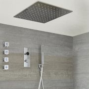 Three Outlet Digital Thermostatic Shower with square recessed shower head & body jets