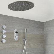 Digitale Dusche für drei Funktionen, inkl. rundem Unterputzduschkopf zur Deckenmontage und Körperdüsen - Narus