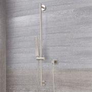 Duschstange mit eckiger Brause - Gebürstetes Nickel