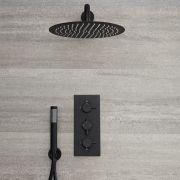 Nox - Schwarze Duscharmatur mit 300mm rundem Duschkopf und Handbrause
