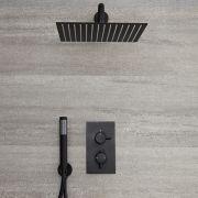 Nox - Schwarze 2-Wege Armatur mit 300x300mm Duschkopf und Handbrause