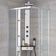 Duschpaneel zur Eckmontage mit Ablagefläche und Körperdüsen - Alcove