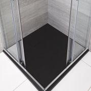 Hudson Reed Graphit Stein-Optik quadratische Duschwanne 800mm