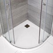 Hudson Reed matt-weiß Stein-Optik Eckduschwanne 900mm