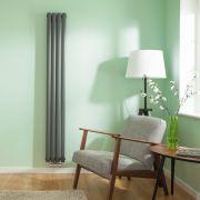 Design Heizkörper Vertikal Doppellagig Mittelanschluss Anthrazit 1780mm x 236mm 866W - Revive Caldae