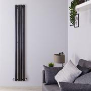 Design Heizkörper Vertikal Einlagig Schwarz 1780mm x 236mm 595W - Revive Slim