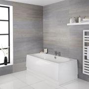 Zweiseitige abgerundete Badewanne mit Ablauf in der Mitte - Größe wählbar