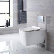 Hänge WC Quadratisch inkl. Unterbauspülkasten 820mm x 400mm und wählbarer Betätigungsplatte - Sandford