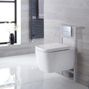 Hänge WC Quadratisch mit niedrigem Unterputzspülkasten & wählbarer Betätigungsplatte - Milton