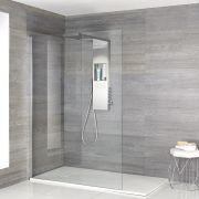 Iko - Walk-In Dusche mit weißer Duschwanne & glashaltendem Duschpaneel