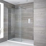 Walk-In Duschwand 1700mm x 800mm inkl. Duschtasse mit Trocknungsbereich - Portland