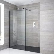 Walk-In Duschwand 1700mm x 900mm mit Seitenteil & Anthrazit Duschtasse - Nox