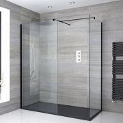 2 Walk-In Duschwände 900/1000mm inkl. 1700mm x 900mm Anthrazit Duschtasse & schwarzes Profil - Nox