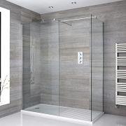 2 Walk-In Duschwände 800mm/ 1000mm inkl. 1600mm x 800mm Duschtasse mit Trocknungsbereich - Portland