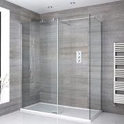 2 Walk-In Duschwände 800mm/ 900mm inkl. 1400mm x 900mm Duschtasse, Seitenteil & Chromprofil - Portland