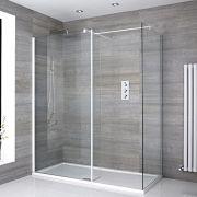 2 Walk-In Duschwände 800mm/ 900mm inkl. 1400mm x 900mm Duschtasse, Seitenteil & weißes Profil- Lux