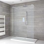 Walk-In Duschwand 1200mm mit 2 weißen Haltearmen inkl. 1200mm x 800mm Duschtasse - Lux