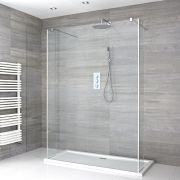 Walk-In Duschwand 1400mm inkl. mit 2 Seitenteile & 1400mm x 900mm Duschtasse - Portland
