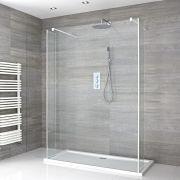 Walk-In Duschwand 1400mm inkl. 1400mm x 900mm Duschtasse, 2 Seitenteile & weißes Profil - Lux