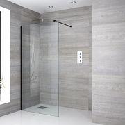 Walk-In Duschwand 1200mm inkl. Halterarm, schwarzes Profil & wählbarer Duschrinne - Nox