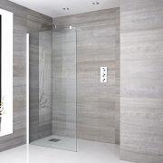 Walk-In Duschwand 900mm inkl. weißes Profil & wählbarer Duschrinne - Lux