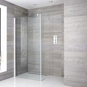 Walk-In Duschwand 1400mm mit Seitenteil, weißes Profil & wählbarer Duschrinne - Lux