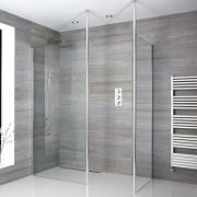 2 Walk-In Duschwände 900/1000mm mit 2 x Duschwandhaltestangen inkl. wählbare Duschrinne