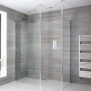 2 Walk-In Duschwände 800/900mm mit 2 x Duschwandhaltestangen inkl. wählbare Duschrinne - Sera