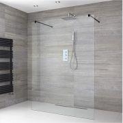 Walk-In Duschwand 1200mm mit 2 Haltearmen inkl. schwarzes Profil & wählbare Duschrinne - Nox