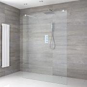 Walk-In Duschwand 1200mm mit 2 Haltearmen inkl. weißes Profil & wählbare Duschrinne - Lux