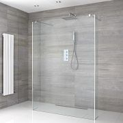 Walk-In Duschwand 1200mm inkl. 2 Seitenteile & wählbare Duschrinne - Portland
