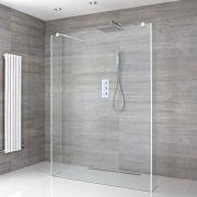 Walk-In Duschwand 1400mm inkl. 2 Seitenteile, weißes Profil & wählbare Duschrinne - Lux