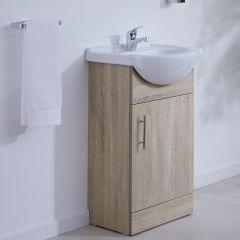 Waschtischunterschrank mit Aufsatzwaschbecken 450mm - Eiche mit einer Tür - ohne Armatur