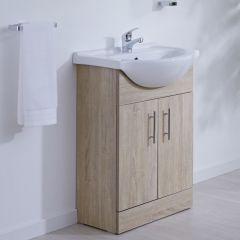 Waschtischunterschrank mit Aufsatzwaschbecken 550mm - Eiche mit zwei Türen - ohne Armatur
