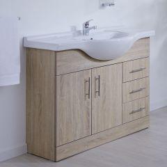 Waschtischunterschrank mit Aufsatzwaschtisch 1050mm - Eiche mit zwei Türen und drei Schubladen - ohne Armatur