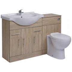 Waschbecken und Toiletten Set - Eiche 1240mm - ovale Toilette