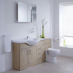 Waschtisch und Toiletten Set - Eiche 1440mm - ovale Toilette