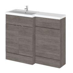1100mm Waschtisch & WC Kombination - Grau-Braun Avola -Waschtischeinheit links
