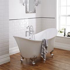 Freistehende Badewanne mit hochgezogenen Enden Oval, mit 20mm Dicke, versch. Füße
