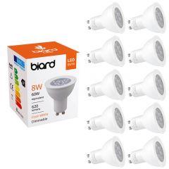 Biard 10x 8W GU10 LED Spot dimmbar, 3 Farbtemperaturen zur Auswahl