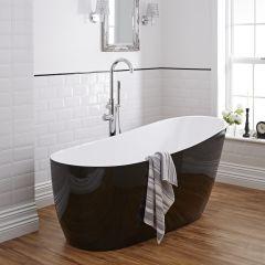 Freistehende Badewanne Schwarz Oval, mit 4mm Dicke