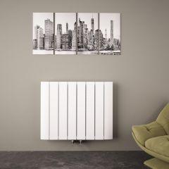 Design Heizkörper Horizontal Einlagig Mittelanschluss - Aluminium Weiß 600mm x 755mm 1024W - Aurora