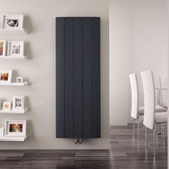 Design Heizkörper Vertikal Einlagig Mittelanschluss - Aluminium Anthrazit 1600mm x 470mm 1701W - Aurora