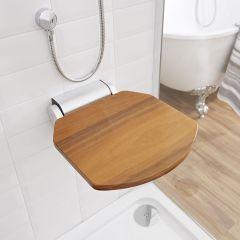Duschsitz zur Wandmontage, Holz Dunkel